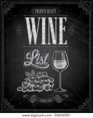 Vintage Wine List Poster  - Chalkboard. Vector illustration.