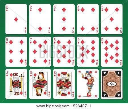 Set of playing cards of Diamonds on green background. The figures are original design as well as the jolly, the ace of spades and the back card.