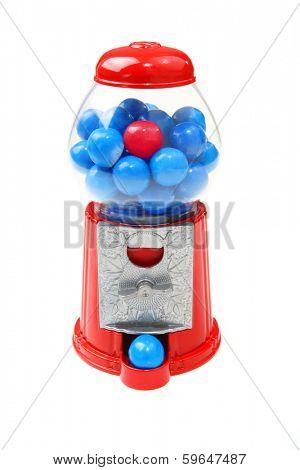 Bubblegum machine with one red bubblegum piece