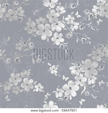 Seamless gray pattern with flowers and butterflies.