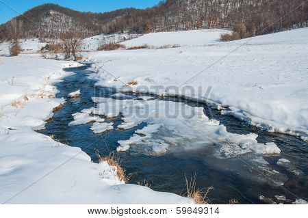 Prairie Stream in Winter