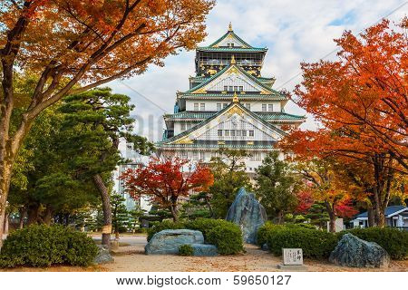 Osaka Castle with Autumn Leaves in Autumn