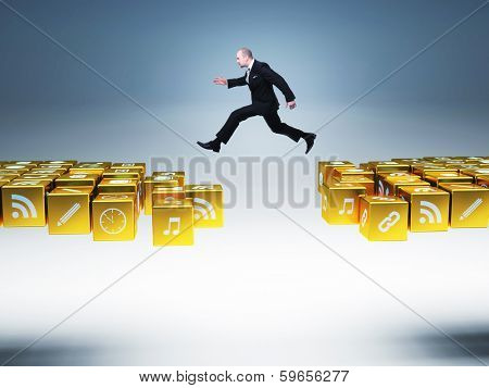 businessman man jump over icons bridge
