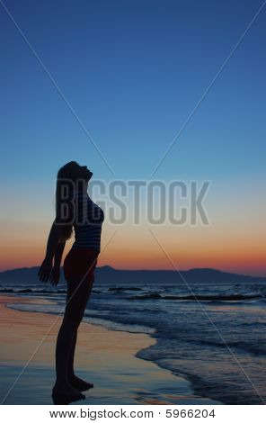 Silhouette Of A Woman On A Beach