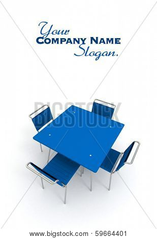 Table and chairs in metal and blue plastic
