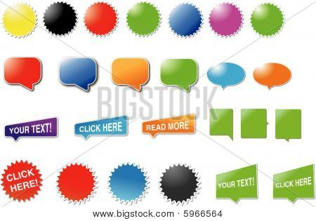 Candy designed speech bubbles and stickers