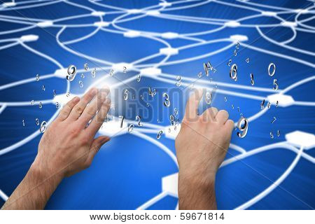 Hands pointing and presenting against glowing dots connected with lines poster