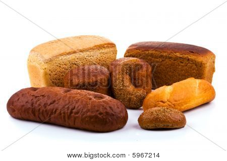 Group of Bread Isolated On White Background