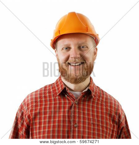 Bearded Man In A Protective Construction Helmet