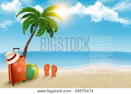 Vacation background. Beach with palm tree, suitcase and flip flops. Vector.