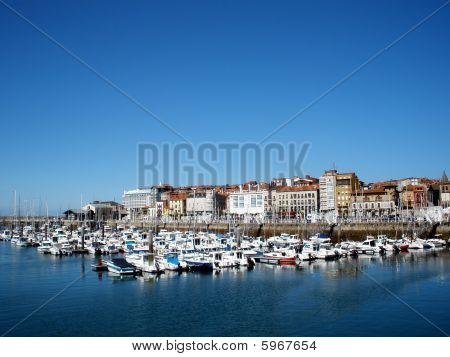 boats  the cantabrian sea in gijon spain