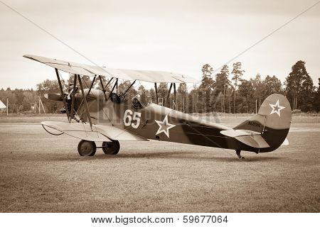 biplane Polikarpov Po-2 on ground, the aircraft  WW2 poster