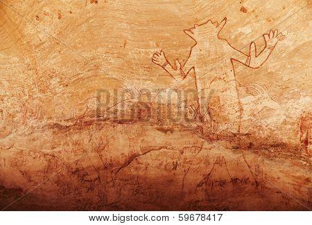 Famous Great God of Sefar one of oldest rock paintings in Sahara, Tassili N'Ajjer, Algeria