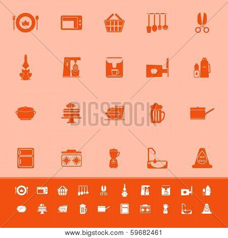 Home Kitchen Color Icons On Orange Background