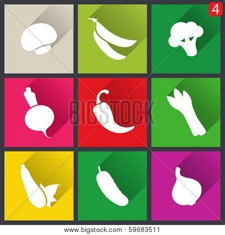 Flat design icons. Set of vegetables. Vector illustration.