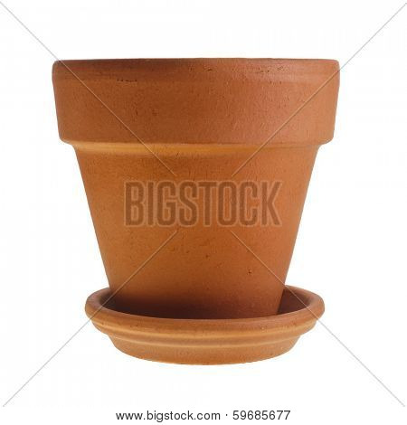 Clay Orange Terracotta flower pot with saucer isolated on white background