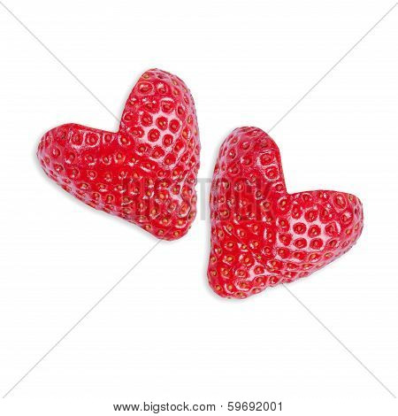 Two Strawberries In The Shape Of Heart
