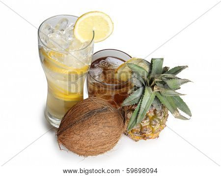 Cocktail and cocoanut on white background