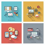 Set of modern concepts in flat design with long shadows and trendy colors for web, mobile applications, seo optimizations, business, social networks, e-commerce etc. Vector eps10 illustration poster