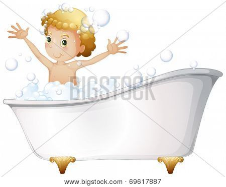 Illustration of a young boy taking a bath at the bathtub on a white background