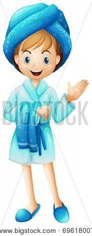 Illustration of a fresh girl with her bathrobe on a white background