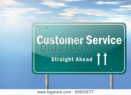 Highway Signpost Image Graphic Image with Customer Satisfaction wording poster