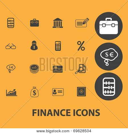 finance, bank icons, signs, objects set, vector