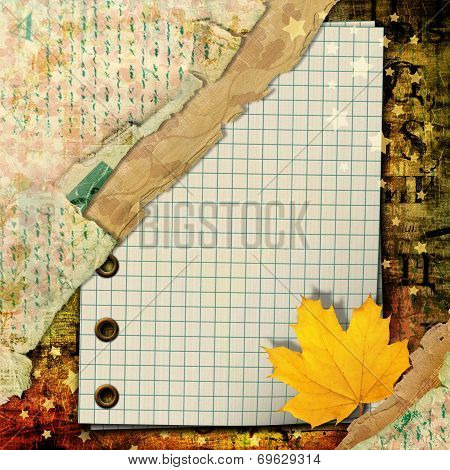 Abstract Beautiful Background In The Style Of Mixed Media With Autumn Leaves