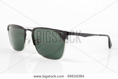 Green Lens Sunglasses Isolated On White Background