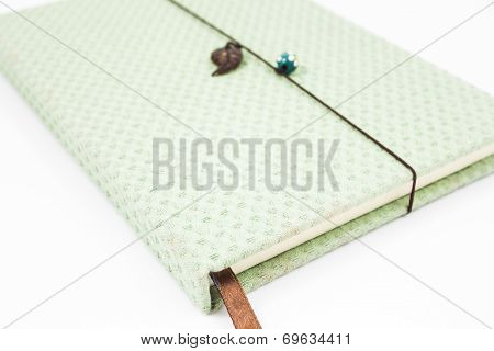 Green Handmade Notebook Isolated On White Background