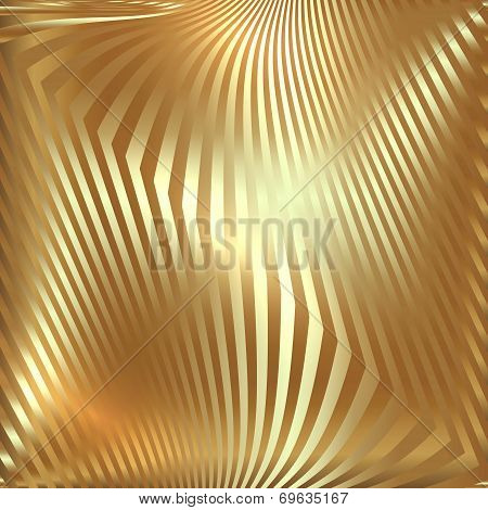 Vector abstract  golden metallic background with zigzag stripes poster