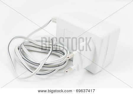 White Adapter Isolated On White Background
