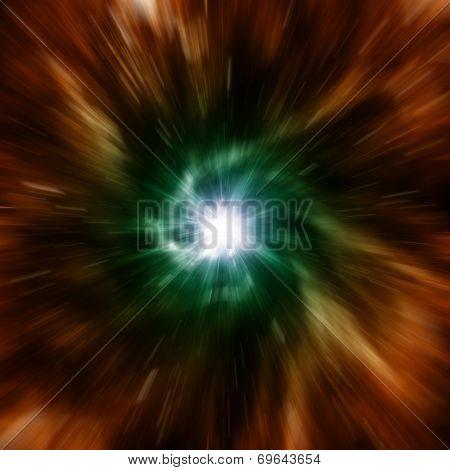Explosion of galaxy.