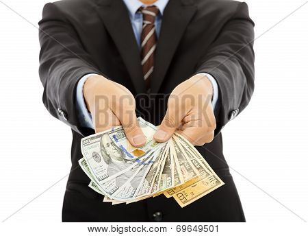 Business Man Holding Us Dollar Cash. Isolated On White