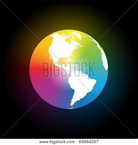 Rainbow Color Gradient Earth Black