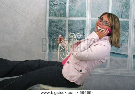 Girl With Glasses On Phone