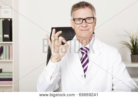 Smiling Doctor Showing Okay Hand Sign
