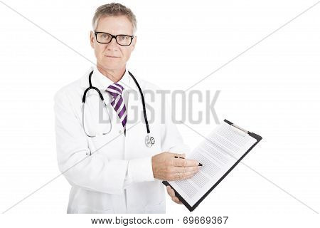 Health Professional Showing Medical Reports