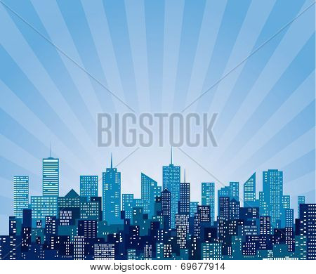 vector abstract cityscape with sun burst