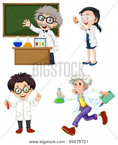 Illustration of the four chemists on a white background