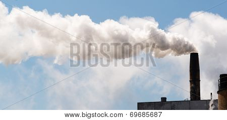 Paper Mill Smokestack White Smoke Blue Sky
