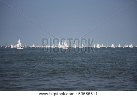 Lots Of Yachts Sailing At The Start Of The Round The Island Race 2014