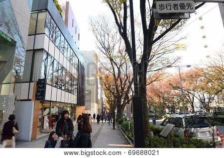 Tokyo, Japan - Nonember 24, 2013: People Shopping At Omotesando Street