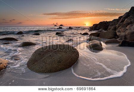 Golden Sunset At Porth Nanven Cove