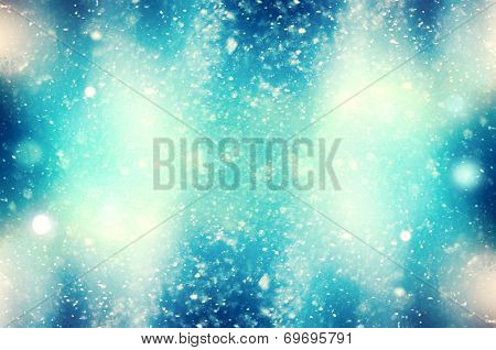 winter snowy background blizzard frost, Christmas blue background with snowflakes and space for text poster