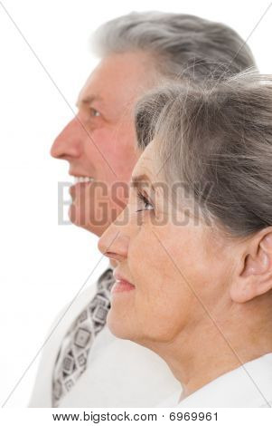 Man And Woman Staring At Each Other White Background
