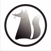 fox stamp, abstract drawing; vector art illustration poster
