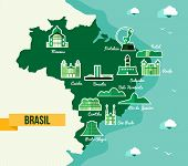 Soccer championship Brazil map with landmark of cities. EPS10 vector organized in layers for easy editing. poster
