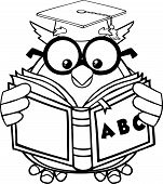 Black And White Wise Owl Teacher Cartoon Mascot Character Reading A ABC Book. Illustration Isolated on white poster