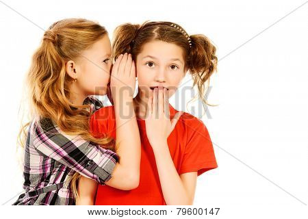 Two girls whispering to each other about something. Isolated over white.